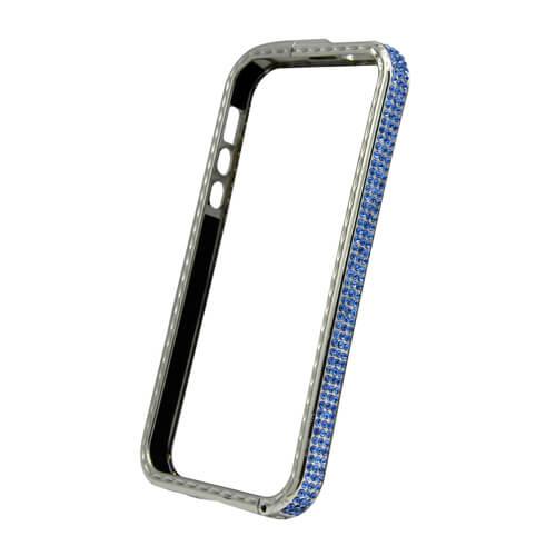 iPhone 5/5S ezüst színű műanyag tok kék kristályokkal, szublimáláshoz és hőpréseléshez