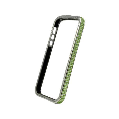 iPhone 5/5S ezüst színű műanyag tok zöld kristályokkal, szublimáláshoz és hőpréseléshez