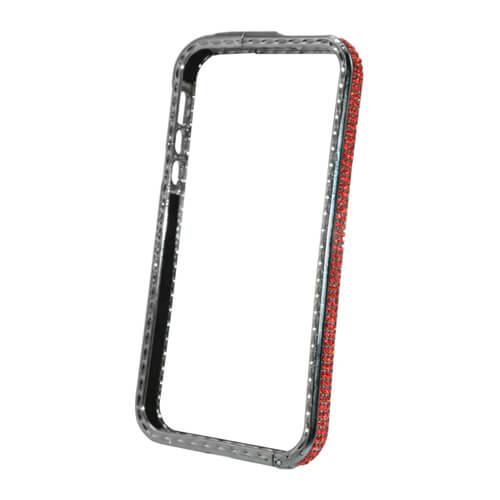 iPhone 5/5S ezüst színű műanyag tok piros kristályokkal, szublimáláshoz, préseléshez