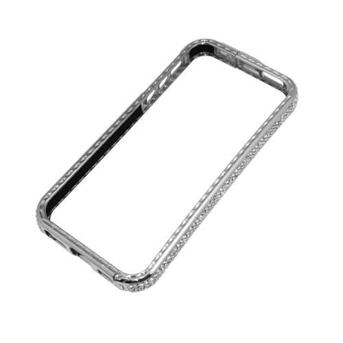 iPhone 5/5S ezüst színű műanyag tok fehér kristályokkal, szublimáláshoz, préseléshez