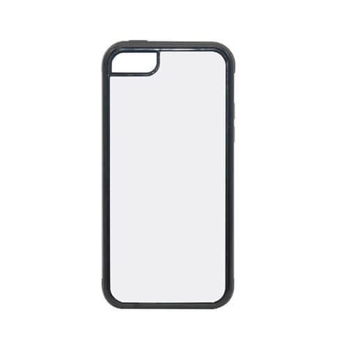 iPhone 5C fekete műanyag-gumi tok szublimáláshoz, préseléshez
