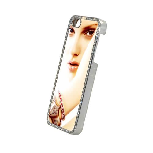 iPhone 5/5S ezüst színű műanyag tok kristályokkal, szublimáláshoz, préseléshez