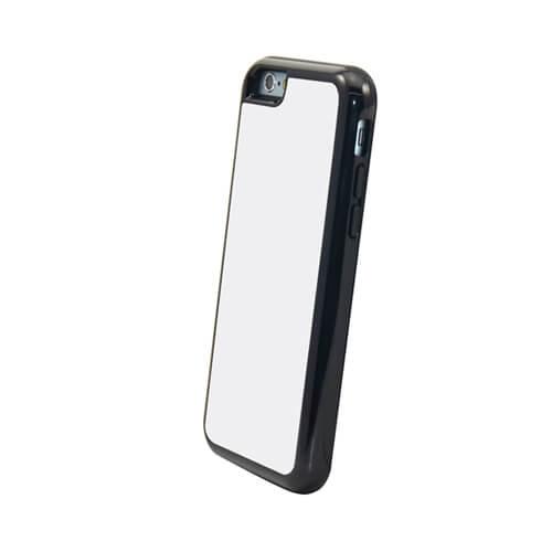 iPhone 6/6S fekete műanyag-gumi tok szublimáláshoz, préseléshez
