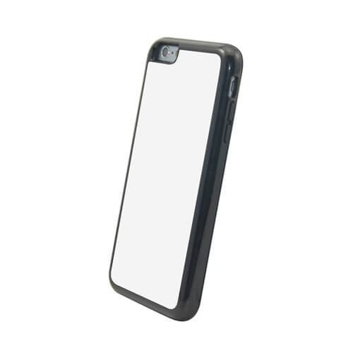 iPhone 6/6S Plus fekete műanyag-gumi tok szublimáláshoz, préseléshez