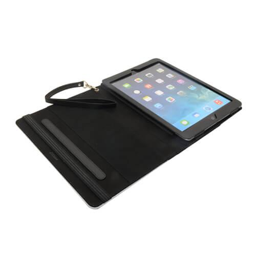 iPad Air 1/2 fekete bőr tok pánttal, szublimáláshoz, préseléshez