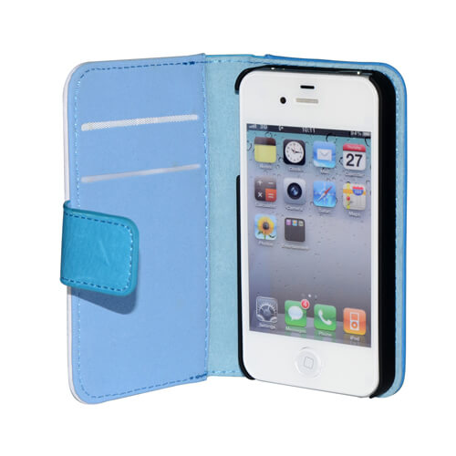 iPhone 4/4S kék eco bőr tok szublimáláshoz, préseléshez
