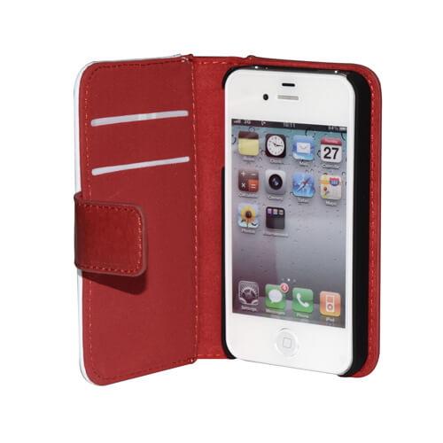 iPhone 4/4S piros eco bőr tok szublimáláshoz, préseléshez