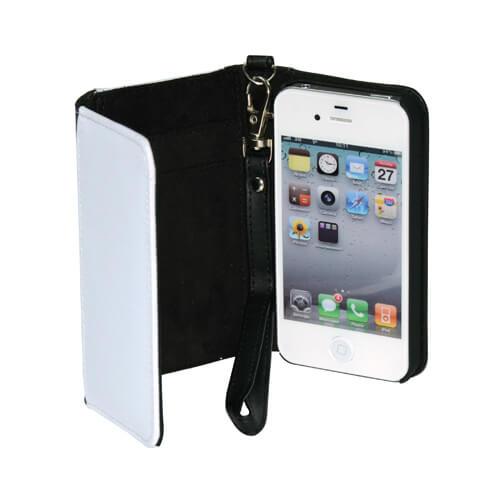 iPhone 4/4S fekete eco bőr tok pánttal, szublimáláshoz, préseléshez