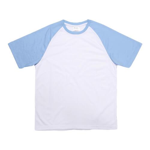 Fehér póló világoskék ujjal, JSubli, XXS /EU/, szublimáláshoz, préseléshez