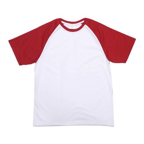 Fehér póló piros ujjal, JSubli, M /EU/, szublimáláshoz, préseléshez