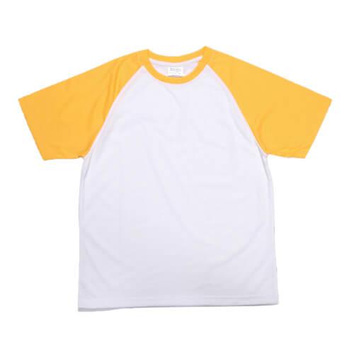 Fehér póló sárga ujjal, JSubli, XXS /EU/ szublimáláshoz, préseléshez