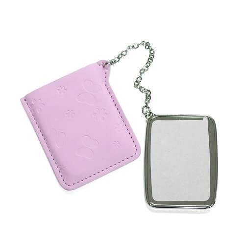 Négyzet alakú tükör rózsaszín borítással, szublimáláshoz, préseléshez