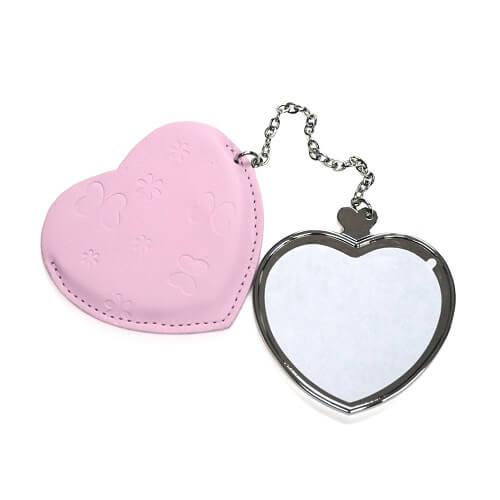 Szív alakú tükör rózsaszín borítással, szublimáláshoz, préseléshez