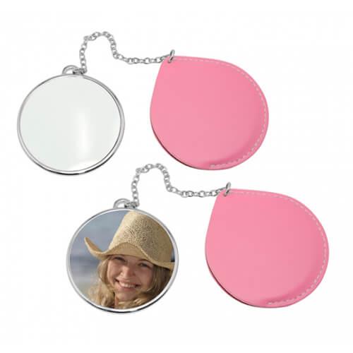 Kerek tükör rózsaszín borítással, szublimáláshoz, préseléshez