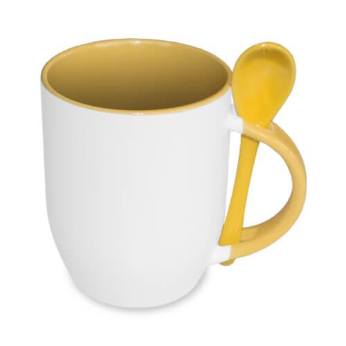 JS-Coating bögre kanállal, sárga, szublimáláshoz, préseléshez