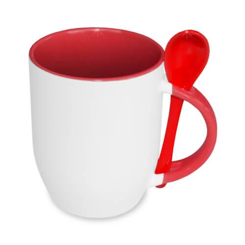 JS-Coating bögre kanállal, piros, szublimáláshoz, préseléshez