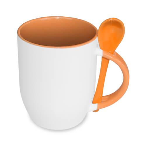 JS-Coating bögre kanállal, narancssárga, szublimáláshoz, préseléshez