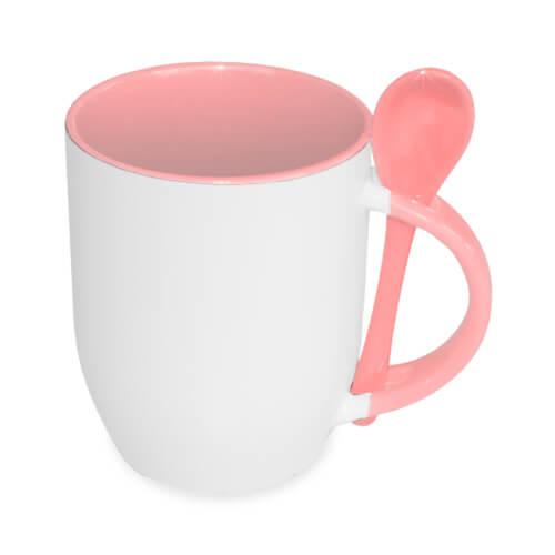 JS-Coating bögre kanállal, rózsaszín, szublimáláshoz, préseléshez
