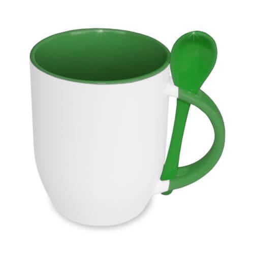 JS-Coating bögre kanállal, zöld, szublimáláshoz, préseléshez