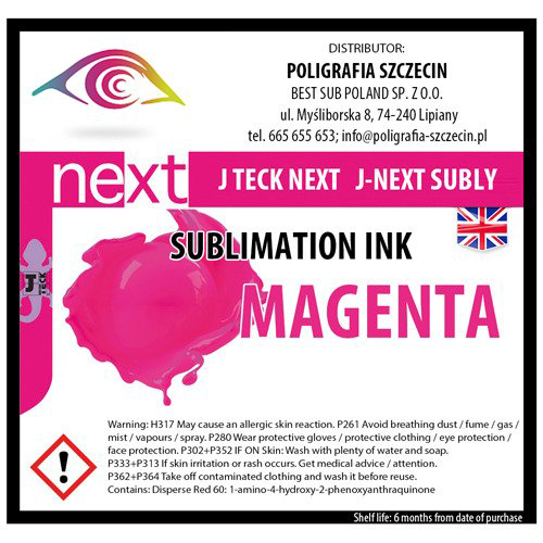 J-Teck J-Eco szublimációs tinta, MAGENTA 1000 ml