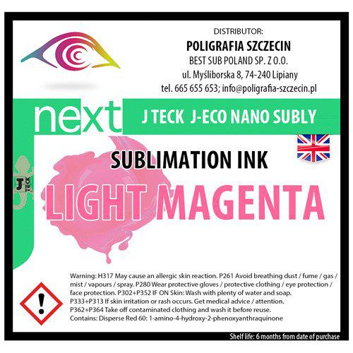 J-Teck J-Eco Nano szublimációs tinta, VILÁGOS MAGENTA 1000 ml