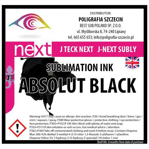 J-Teck J-Eco szublimációs tinta, ABSZOLÚT FEKETE 1000 ml
