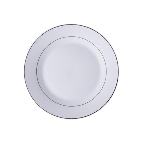 Szublimálható 20,5 cm-es kerámia tányér ezüst csík díszítéssel