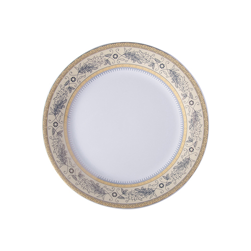 Szublimálható 20,5 cm-es kerámia tányér arany leveles díszítéssel