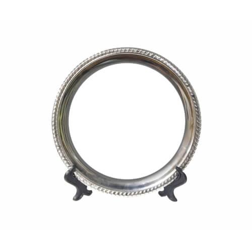 25 cm átmérőjű kerek fémtányér állvánnyal, szublimáláshoz, préseléshez