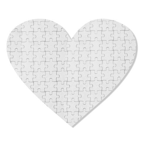 19 x 18 cm-es, 76 darabos, szív alakú puzzle szublimáláshoz, préseléshez