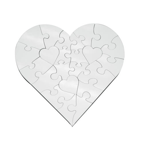Szublimálható 17 x 17 cm-es, 23 darabos, szív alakú MDF puzzle