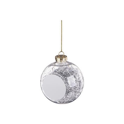 Szublimálható karácsonyfa gömb - ezüst angyal haj