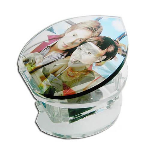 Zongora alakú zenélő doboz szív alakú fényképes kristállyal, SJ08-as típus