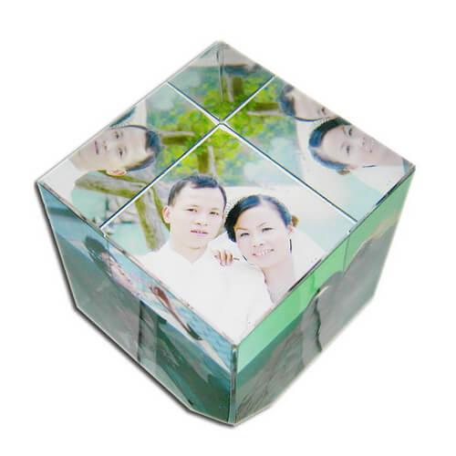 Kis méretű, kocka alakú fényképes kristálytömb, SJ48-as típus