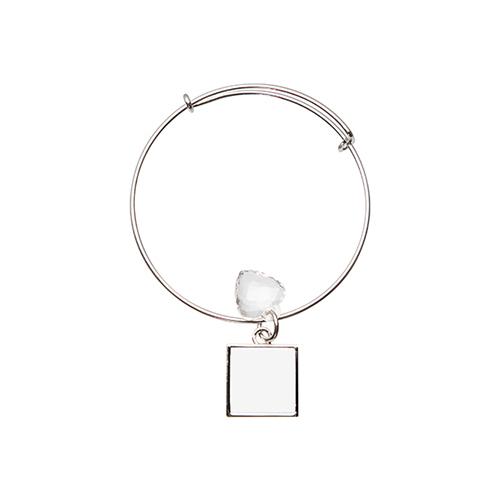 Szublimálható állítható karkötő, kristály szívvel, négyszög medalionnal