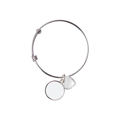 Szublimálható állítható karkötő, kristály szívvel, kör medalionnal