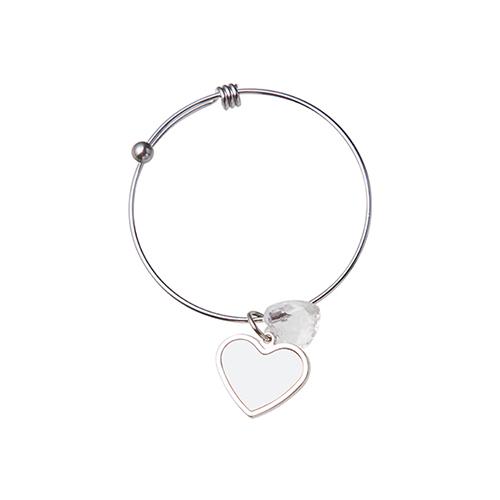 Szublimálható állítható karkötő, kristály szívvel, szív medalionnal