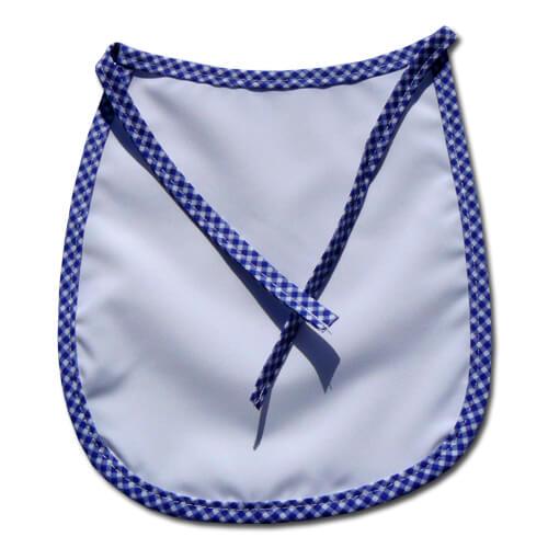 Prémium baby előke kék kockás szegéllyel, szublimáláshoz, préseléshez