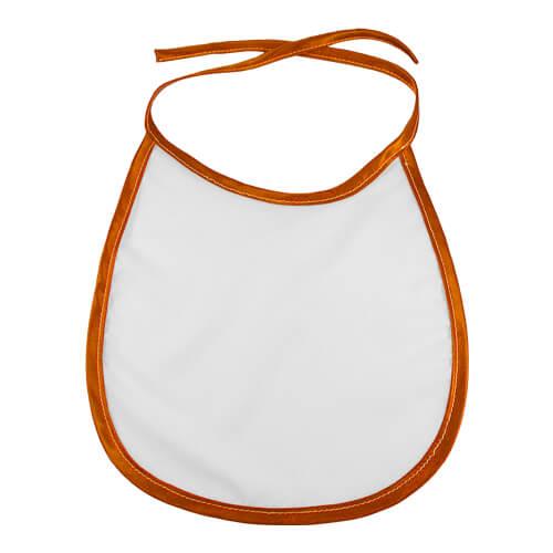 Baby előke narancssárga szegéllyel, szublimáláshoz, préseléshez