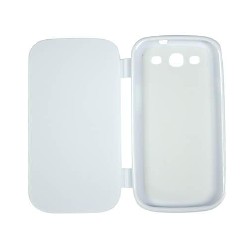 Samsung Galaxy S3 i9300 fehér felnyitható gumi tok szublimáláshoz, préseléshez