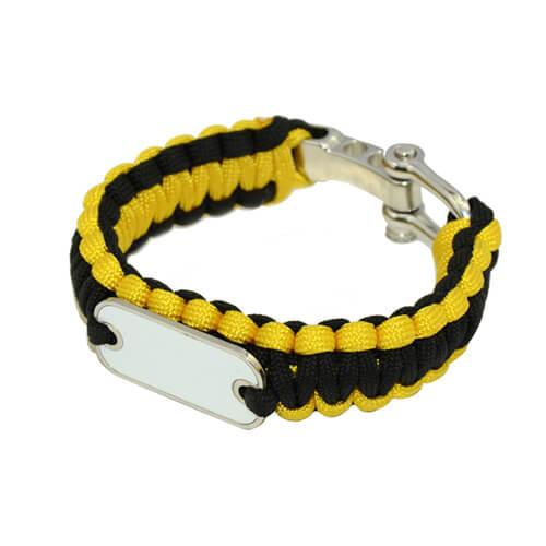 Sárga-fekete paracord karkötő szublimáláshoz, préseléshez