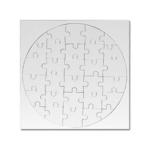 21 x 21 cm-es, 30 darabos kör alakú puzzle szublimáláshoz, préseléshez