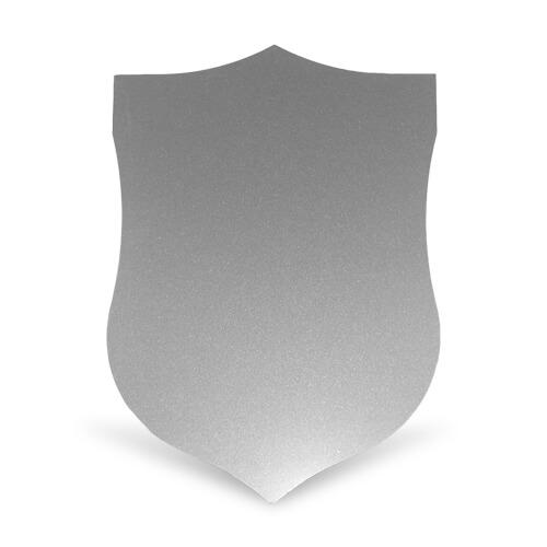 Ezüst színű, pajzs alakú acéllap szublimáláshoz, préseléshez