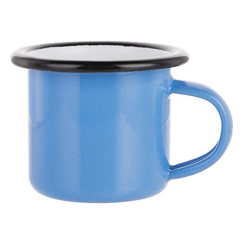 Szublimálható 100 ml-es zománcozott kék fém csésze fekete szegéllyel