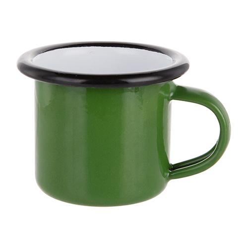 Szublimálható 100 ml-es zománcozott zöld fém csésze fekete szegéllyel