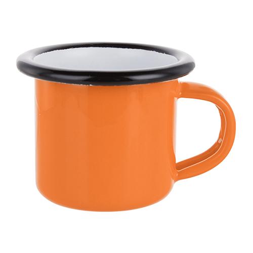 Szublimálható 100 ml-es zománcozott narancssárga fém csésze fekete szegéllyel