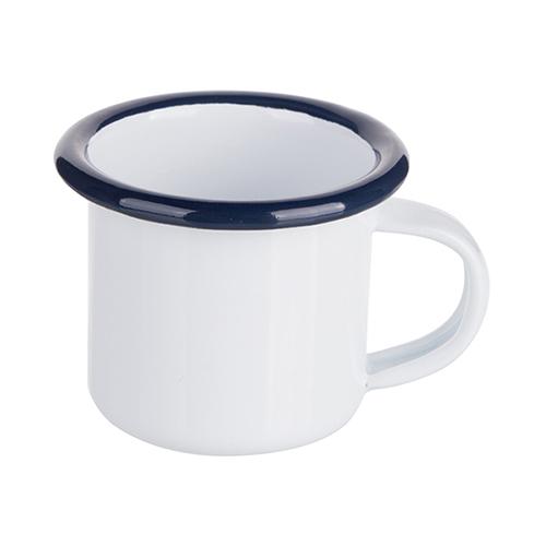 Szublimálható 100 ml-es zománcozott fehér fém csésze sötétkék szegéllyel