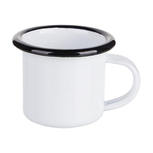 Szublimálható 100 ml-es zománcozott fehér fém csésze fekete szegéllyel