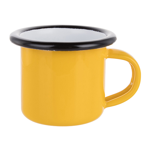 Szublimálható 100 ml-es zománcozott citromsárga fém csésze fekete szegéllyel