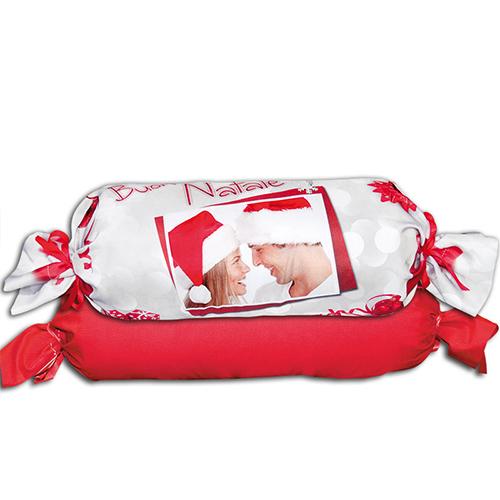 Szublimálható Ø 20 x 50 cm kétszínű szaténnal bevont párnahuzat - Boldog Karácsonyt